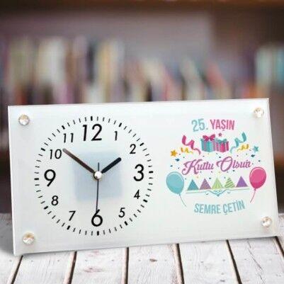 Doğum Günün Kutlu Olsun Cam Masa Saati - Thumbnail