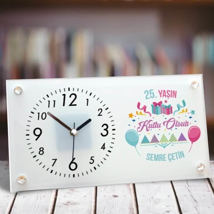 Doğum Günün Kutlu Olsun Cam Masa Saati