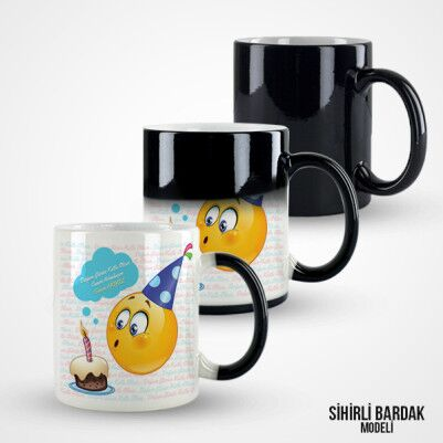 Doğum Gününe Özel Emoji Kupa Bardak - Thumbnail