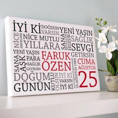 - Doğum Gününe Özel Kanvas Tablo