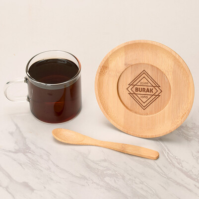 - Doğum Tarihli İsme Özel Cam Çay Fincanı