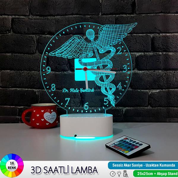 Doktor Amblemi 3D LED Lamba Saat