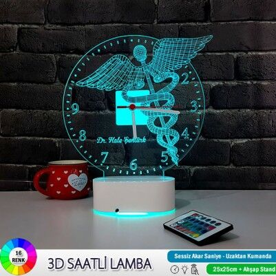 Doktor Amblemi 3D LED Lamba Saat - Thumbnail
