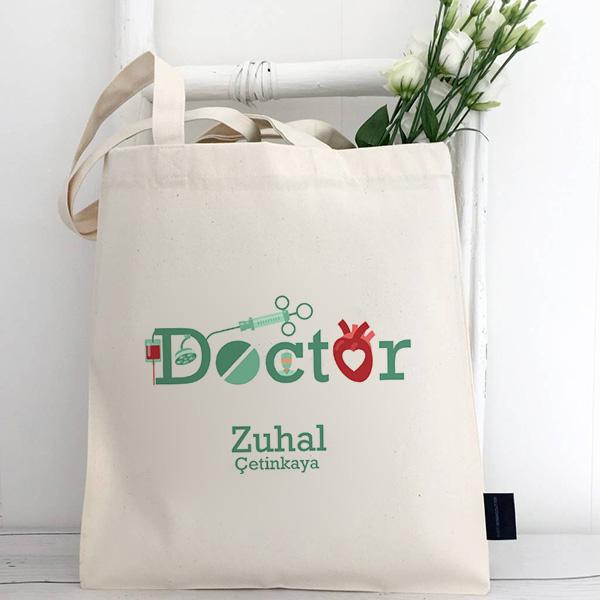 Doktor Temalı İsme Özel Bez Çanta