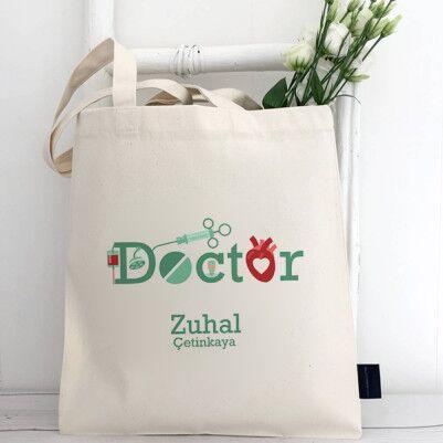 - Doktor Temalı İsme Özel Bez Çanta