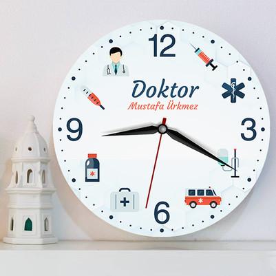 Doktora Özel İsimli Duvar Saati - Thumbnail
