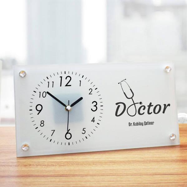 Doktorlara Hediye Mesleki Cam Masa Saati
