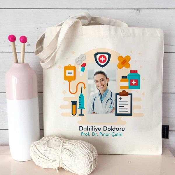Doktorlara Özel Fotoğraflı Bez Çanta