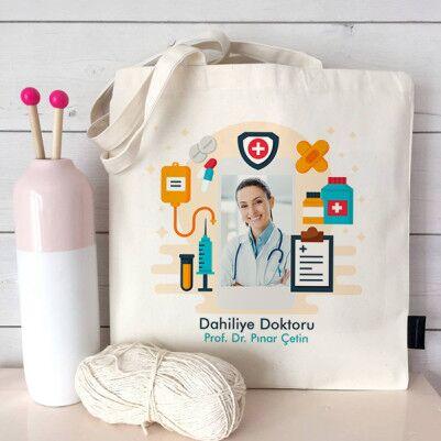 - Doktorlara Özel Fotoğraflı Bez Çanta