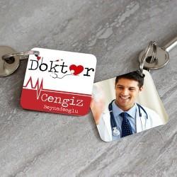 Doktorlara Özel İsim ve Fotoğraflı Anahtarlık - Thumbnail