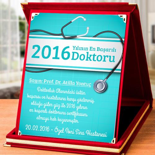 Doktorlara Özel İsim ve Mesajlı Plaket