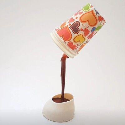 - DIY Cup & Light - Dökülen Kahve Görünümlü Masa Lambası
