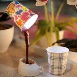 DIY Cup & Light - Dökülen Kahve Görünümlü Masa Lambası - Thumbnail