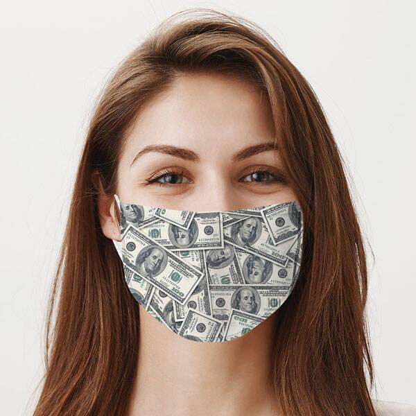 Dolar Temalı Yıkanabilir Maske