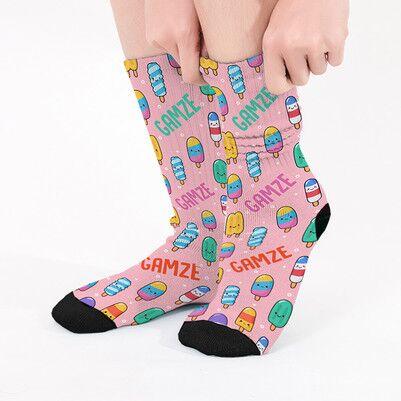 - Dondurma Desenli İsme Özel Çorap