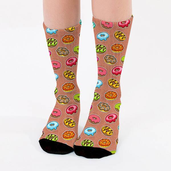 Donut Tasarımlı Sevimli Kadın Çorabı