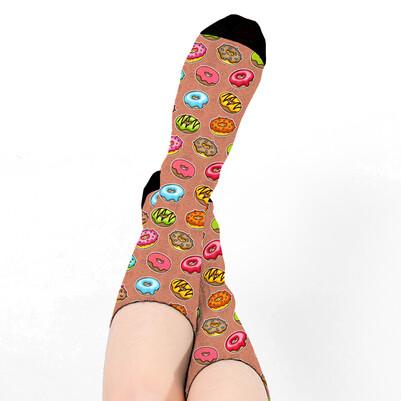 Donut Tasarımlı Sevimli Kadın Çorabı - Thumbnail