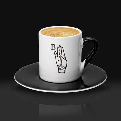 Dosta Hediye Baş Harfli Kahve Fincanı - Thumbnail