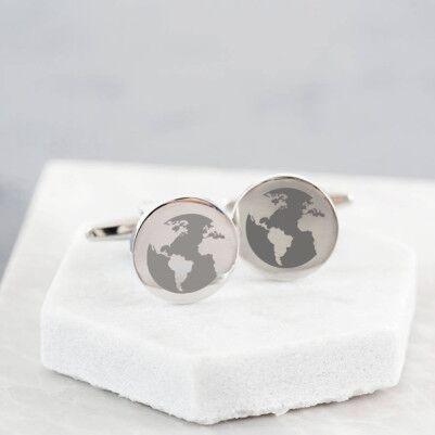 - Dünya Haritası Temalı Kol Düğmesi