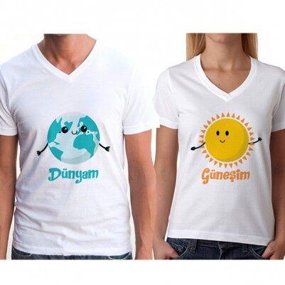 Dünyam ve Güneşim Çift Tişörtleri - Thumbnail