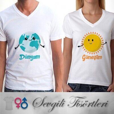 - Dünyam ve Güneşim Çift Tişörtleri