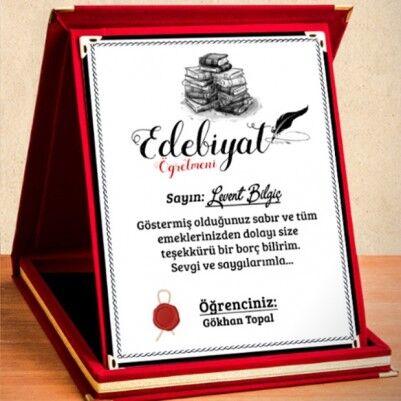 - Edebiyat Öğretmenine Hediye Plaket