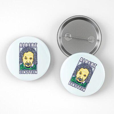 Einstein İğneli Buton Rozet - Thumbnail