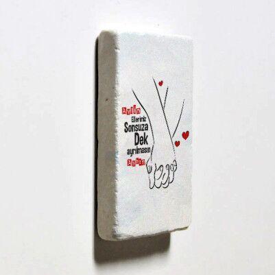 El Ele Sevgililer Taş Buzdolabı Magneti - Thumbnail