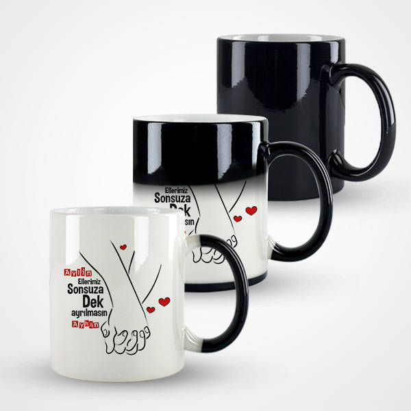 El Ele Sevgililer Tasarım Sevgili Kupa Bardağı