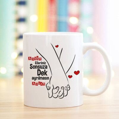 - El Ele Sevgililer Tasarım Sevgili Kupa Bardağı