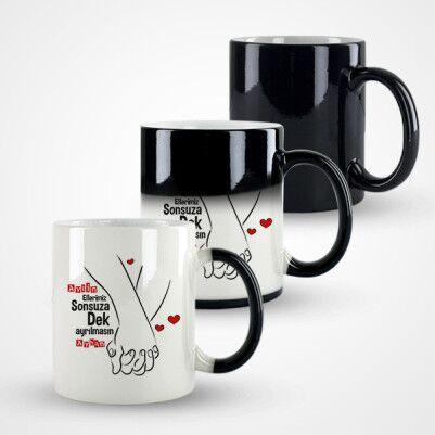 El Ele Sevgililer Tasarım Sevgili Kupa Bardağı - Thumbnail