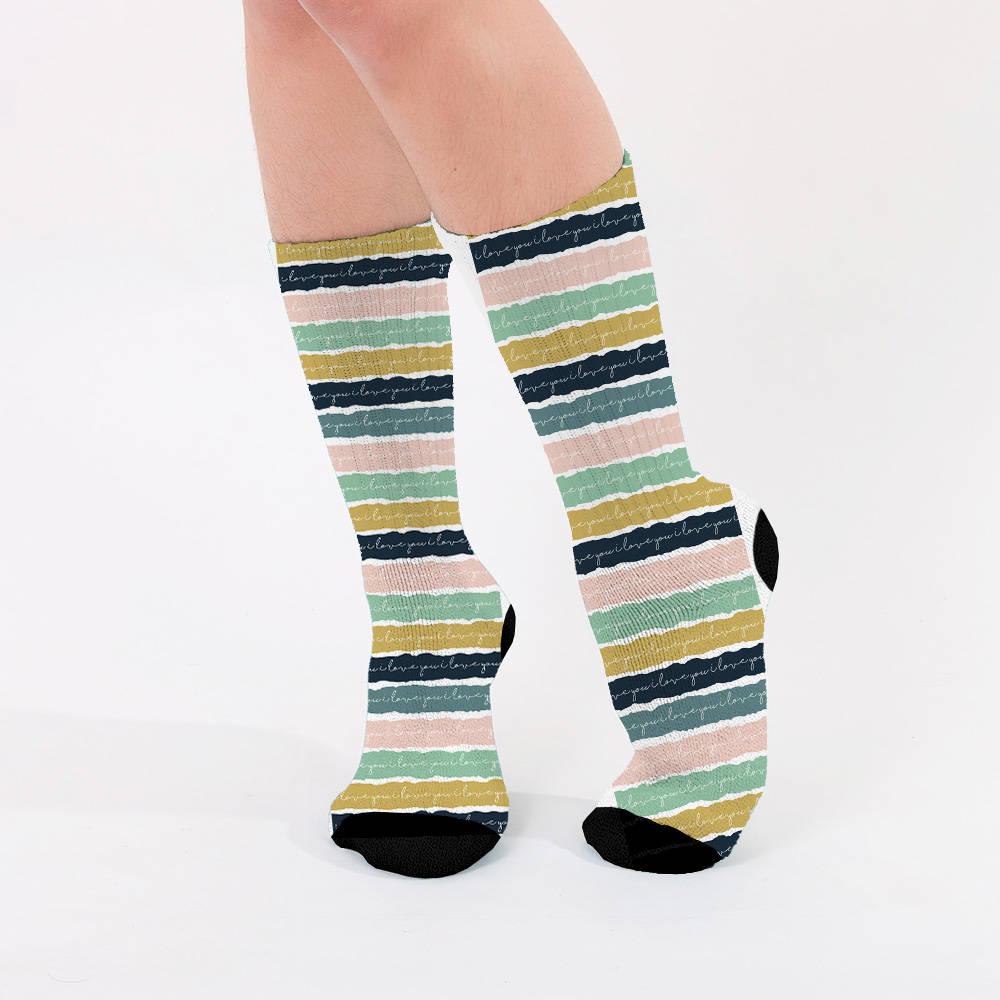 El Yazılı Tasarım Kadın Çorabı