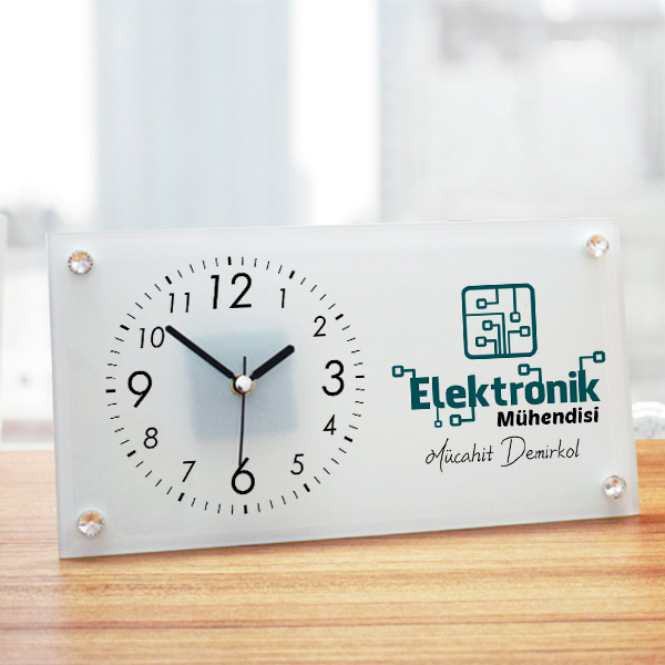 Elektronik Mühendisine Hediye Cam Masa Saati