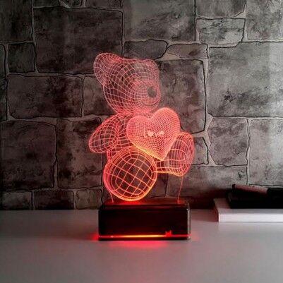 Elinde Kalp Taşıyan Sevimli 3D Led Lamba Ayıcık - Thumbnail