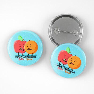 Elma ve Portakal Arkadaşlığı Buton Rozet - Thumbnail
