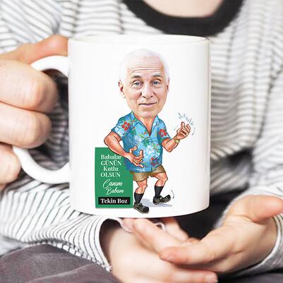 Emekli Babam Karikatürlü Kupa Bardak - Thumbnail