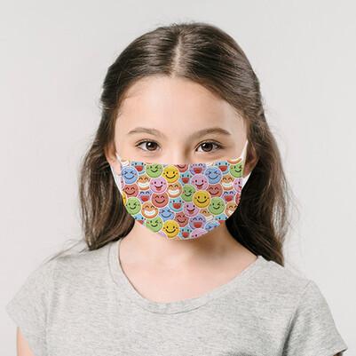 - Emoji Tasarım Yıkanabilir Çocuk Maskesi