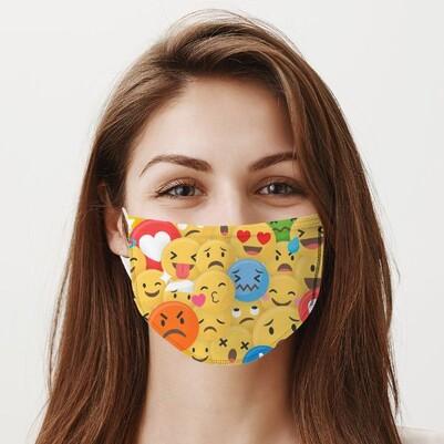 Emoji Tasarımlı Yıkanabilir Ağız Maskesi - Thumbnail