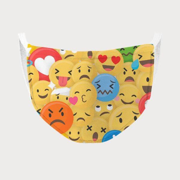 Emoji Tasarımlı Yıkanabilir Ağız Maskesi