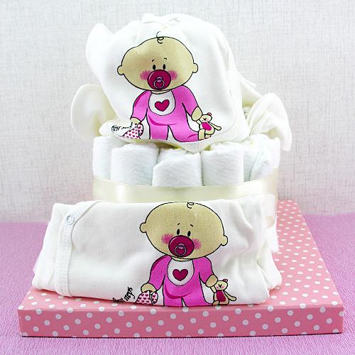 Emzikli Bebek Bezi Pastası Hediye Sepeti