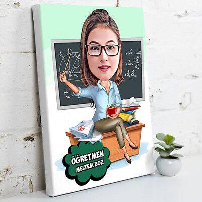 - En Güzel Matematik Öğretmeni Karikatürlü Kanvas Tablo