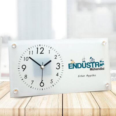 - Endüstri Mühendisine Hediye Cam Masa Saati
