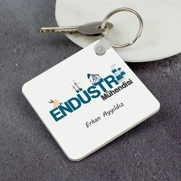 Endüstri Mühendisine Hediye Kare Anahtarlık