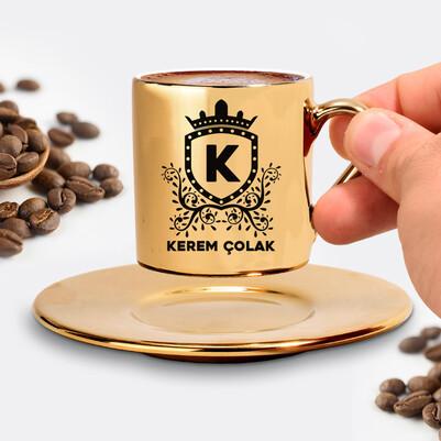 Erkeğe Hediye Gold Kahve Fincanı - Thumbnail