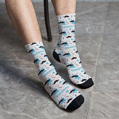 - Erkeğe Hediye İsme Özel Bıyıklı Çorap