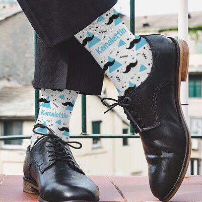 Erkeğe Hediye İsme Özel Bıyıklı Çorap - Thumbnail