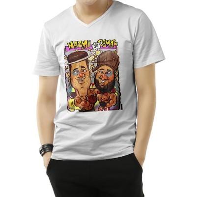 Erkeğe Özel Karikatür Baskılı Tişört - Thumbnail