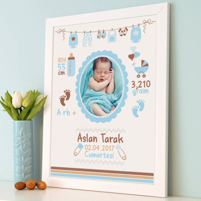 - Erkek Bebeğe Özel Doğum Hatırası Çerçevesi