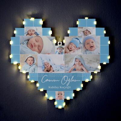 - Erkek Bebeğe Özel Işıklı Kalp Pano