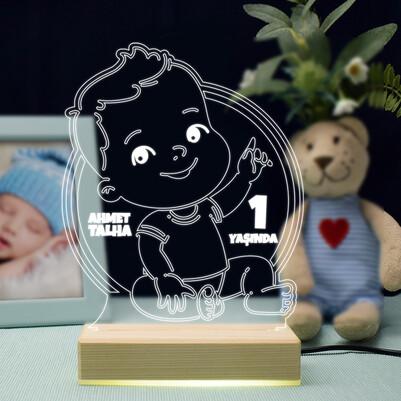 - Erkek Bebeğe Yaş Günü Temalı Led Lamba